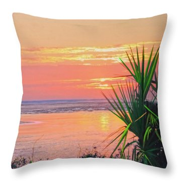 Breach Inlet Sunrise Palmetto  Throw Pillow