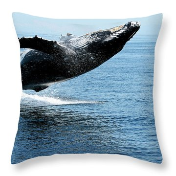 Breaching Humpback Whales Happy-2 Throw Pillow