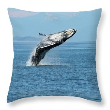 Breaching Humpback Whales Happy-3 Throw Pillow