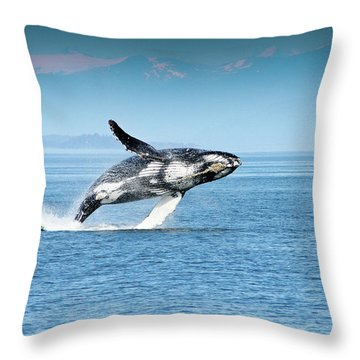 Breaching Humpback Whales Happy-4 Throw Pillow