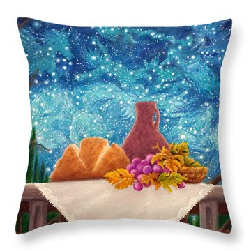 Bread And The Fruit Of The Vine Throw Pillow