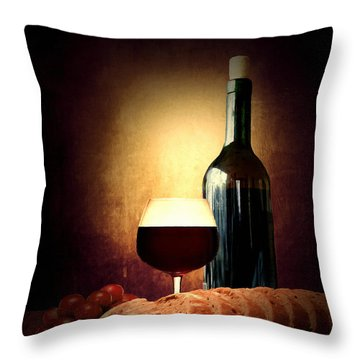 Bread And Wine Throw Pillow by Lourry Legarde