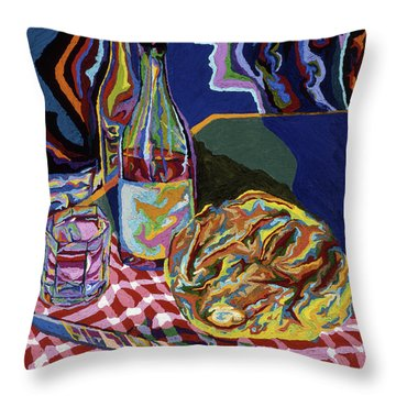 Bread And Wine Of Life Throw Pillow