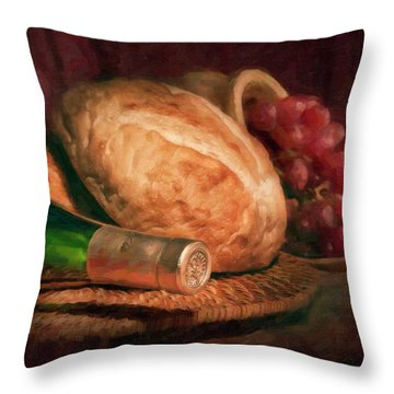 Bread And Wine Throw Pillow by Tom Mc Nemar