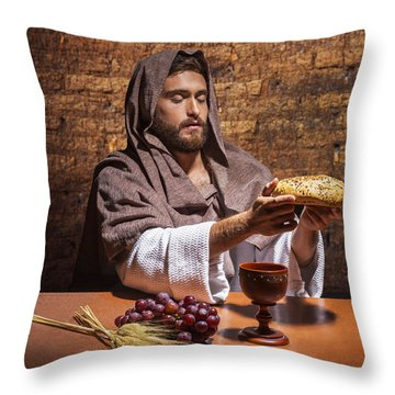 Throw Pillow featuring the painting Bread Of Life by Karen Showell