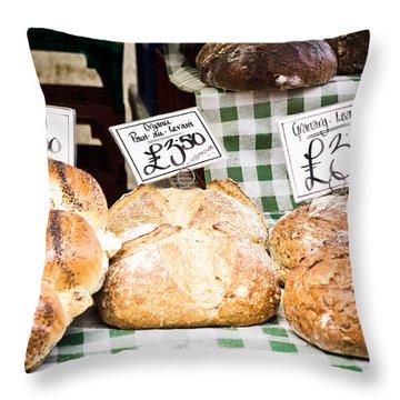 Bread Stall Throw Pillow