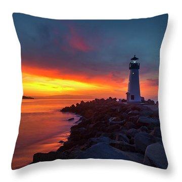 Break Of Day At Walton Lighthouse Throw Pillow