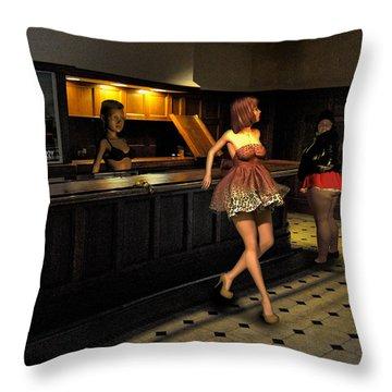 Breaker Bar Girls Throw Pillow by Bob Winberry