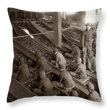 Breaker Boys Lehigh Valley Coal Co Maltby Pa Near Swoyersville Pa Early 1900s Throw Pillow