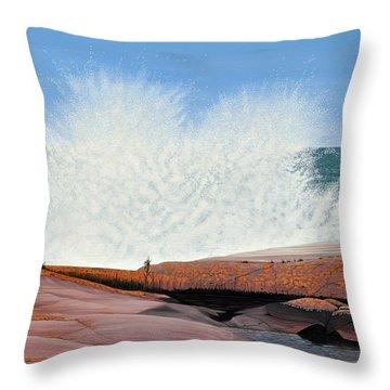 Breakers On Georgian Bay Throw Pillow