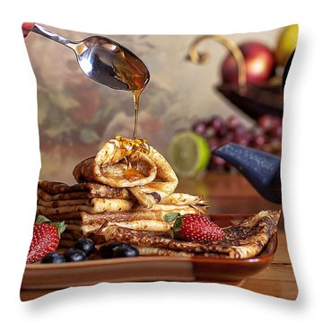 Breakfast Throw Pillow by Anna Rumiantseva