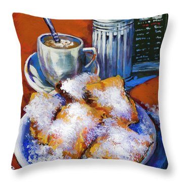 Breakfast At Cafe Du Monde Throw Pillow