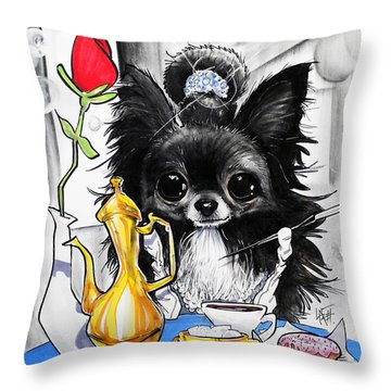 Breakfast At Tiffany's Papillon Caricature Art Print Throw Pillow