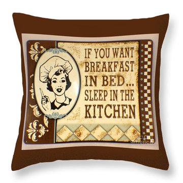 Breakfast In Bed Throw Pillow by Pg Reproductions