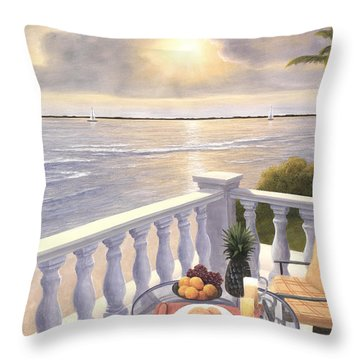Breakfast On The Veranda Throw Pillow
