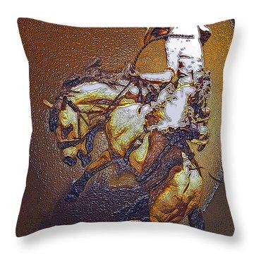 Breakin A Bronc Throw Pillow by Al Bourassa
