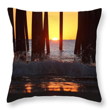 Breaking Dawn At The Pier Throw Pillow