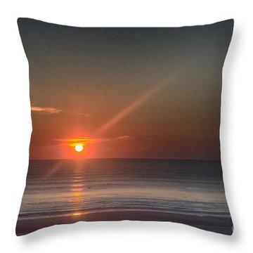 Breaking Dawn Daytona Beach Throw Pillow by Judy Hall-Folde