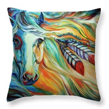 Breaking Dawn Indian War Horse Throw Pillow