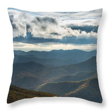 Blue Ridge Parkway Breaking Through  Throw Pillow