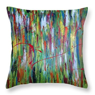 Throw Pillow featuring the painting Breaking Through The Rainbow Of Pain by The GYPSY And DEBBIE