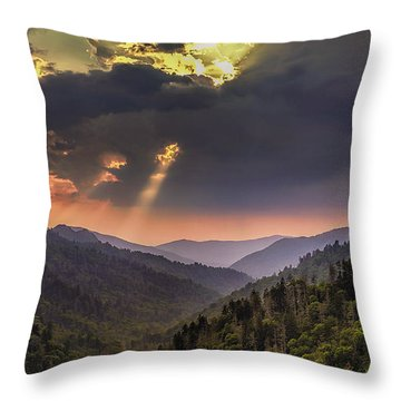 Breaking Thru At Sunset Throw Pillow