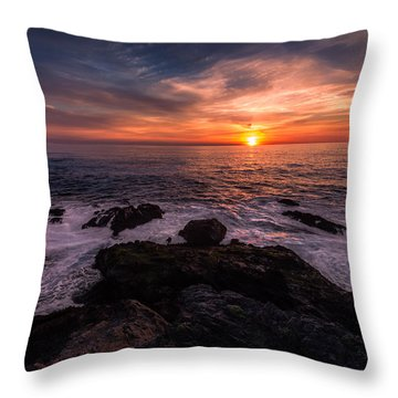 Breaking Waves At Sunset Throw Pillow