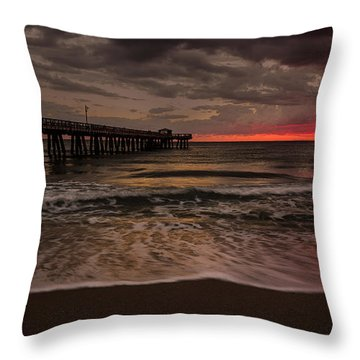 Breaking Waves At The Pier Throw Pillow