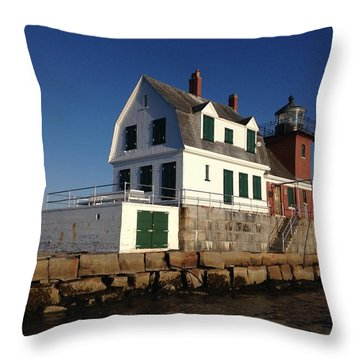 Breakwater Lighthouse Throw Pillow by Jewels Blake Hamrick