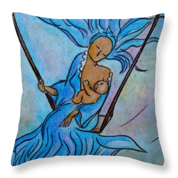 Breastfeeding Everywhere Breastfeeding On A Swing Throw Pillow by Gioia Albano