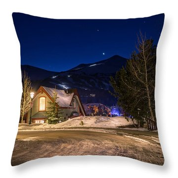 Breckenridge Nice Winter Evening Throw Pillow