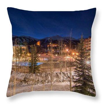 Breckenridge Village Winter Evening Throw Pillow by Michael J Bauer