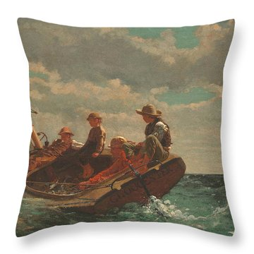 Throw Pillow featuring the painting Breezing Up A Fair Wind - 1876 by Winslow Homer