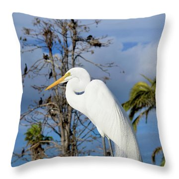 Breezy Egret Throw Pillow