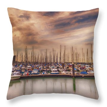 Breskens Marina Throw Pillow