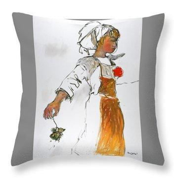 Breton Girl Throw Pillow by Mykul Anjelo