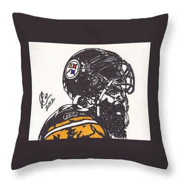 Throw Pillow featuring the drawing Brett Keisel by Jeremiah Colley