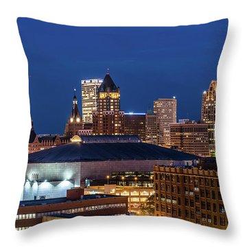 Brew City At Dusk Throw Pillow by Randy Scherkenbach