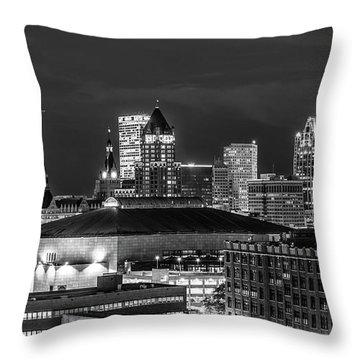 Throw Pillow featuring the photograph Brew City At Night by Randy Scherkenbach