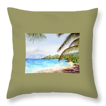 Brewers Bay Beach Throw Pillow