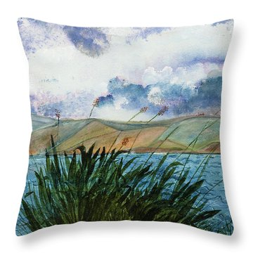 Brewing Storm Over Lake Watercolor Painting Throw Pillow