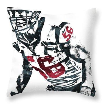 Throw Pillow featuring the mixed media Brian Cushing Houston Texans Pixel Art by Joe Hamilton