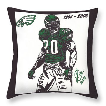 Throw Pillow featuring the drawing Brian Dawkins 3 by Jeremiah Colley