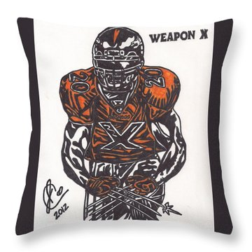 Throw Pillow featuring the drawing Brian Dawkins by Jeremiah Colley