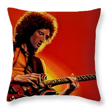 Brian May Of Queen Painting Throw Pillow