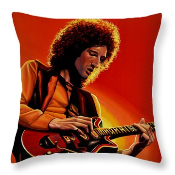 Brian May Of Queen Painting Throw Pillow by Paul Meijering