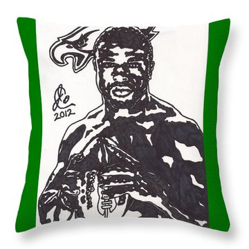 Throw Pillow featuring the drawing Brian Westbrook by Jeremiah Colley