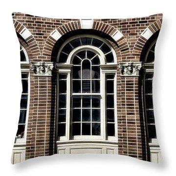 Throw Pillow featuring the photograph Brick Arch Windows by Brad Allen Fine Art