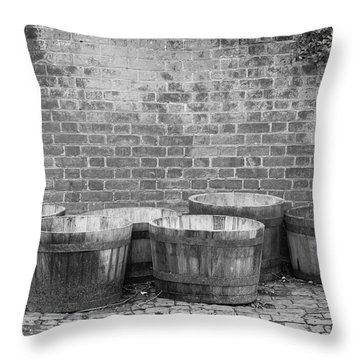 Brick Wall And Barrels B W Throw Pillow