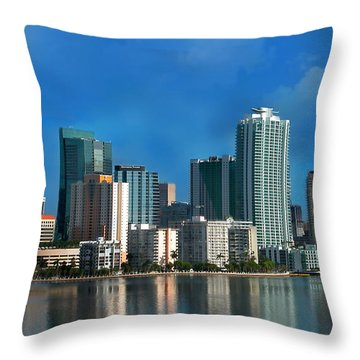 Brickell Skyline 2 Throw Pillow by Bibi Romer